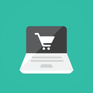 Animated laptop showing online shopping cart