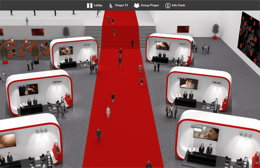 Lobby of a virtual trade show with booths of companies