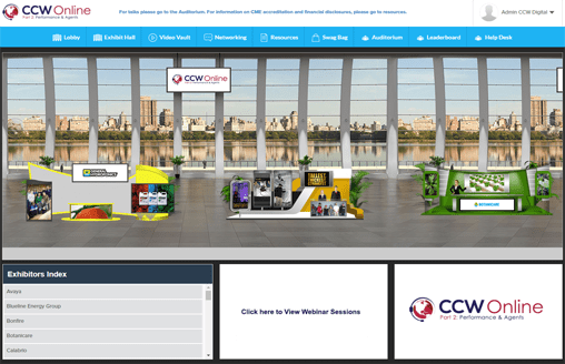 The lobby of an online trade show showing booths of companies