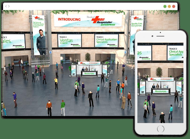 A digital lobby prepared for a Virtual Benefits Fair