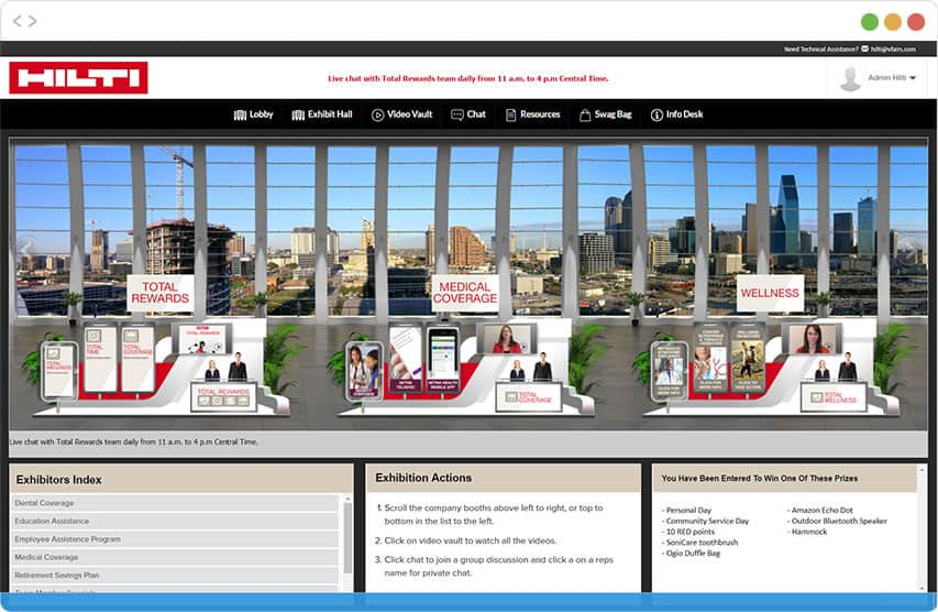 Digital booths of benefits providers in a Virtual Benefits Fair