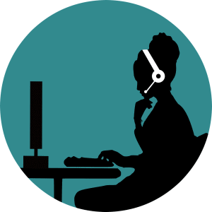 A vector showing a customer support representative on call for virtual career show.