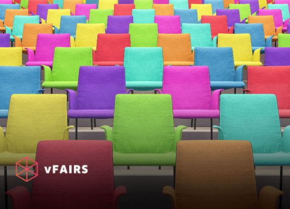 Empty chairs representing an online event