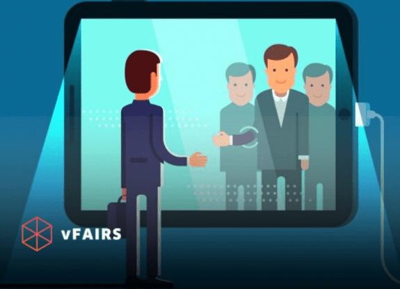 Cartoon figures having a virtual conference through a screen