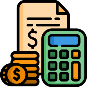 Graphic of calculator money and receipt