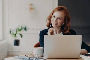 woman hosting a virtual event