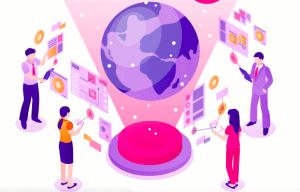 people communicating virtually around the globe