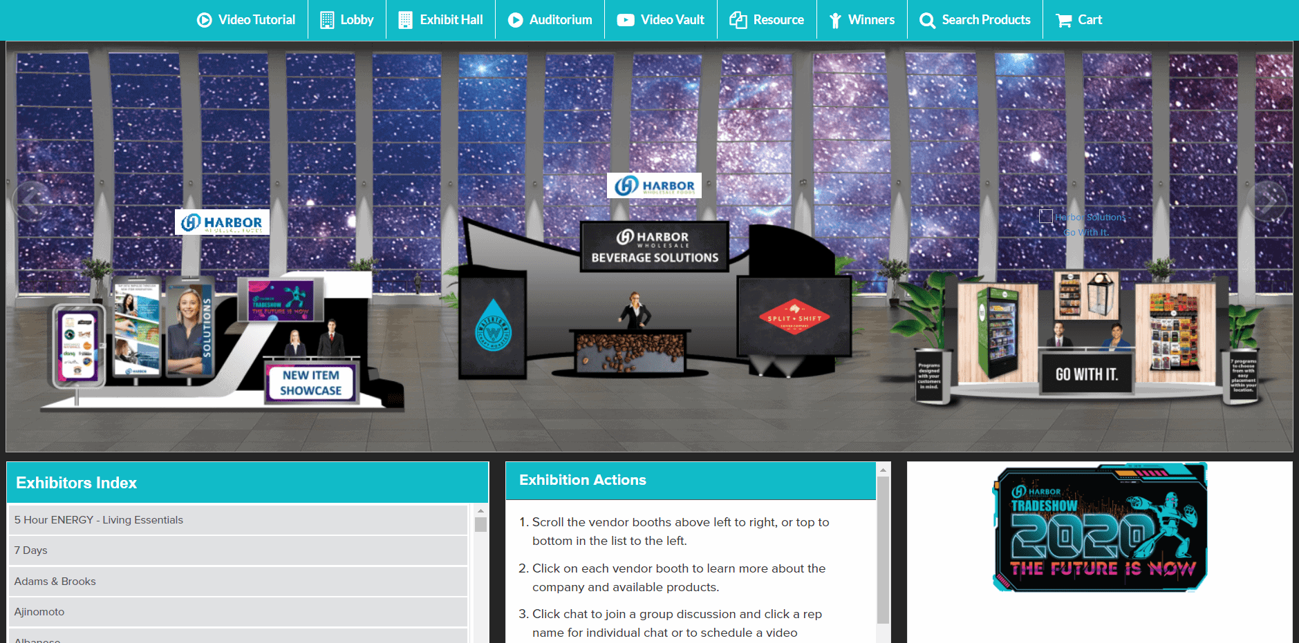 exhibit hall in virtual trade show