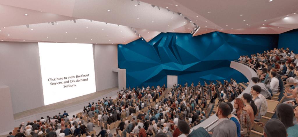 virtual event auditorium full of attendees