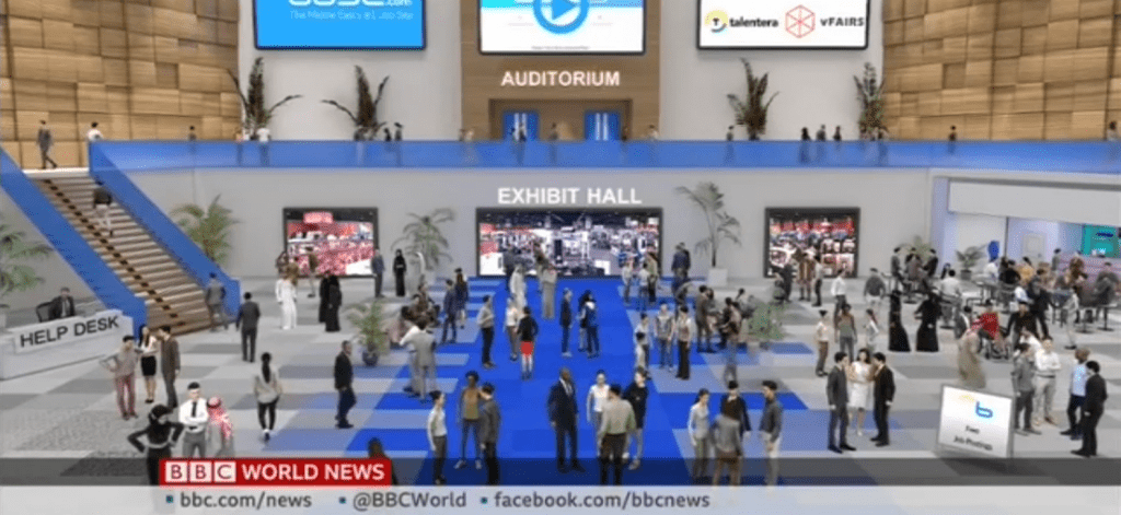 vfairs virtual lobby featured on bbc