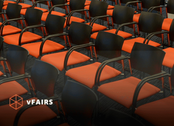 empty conference hall with vfairs logo