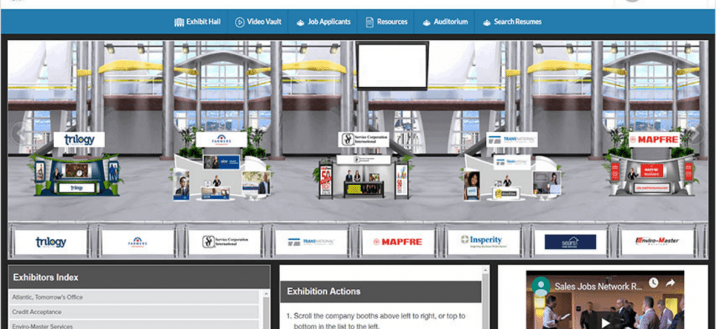 online job fair exhibitor hall