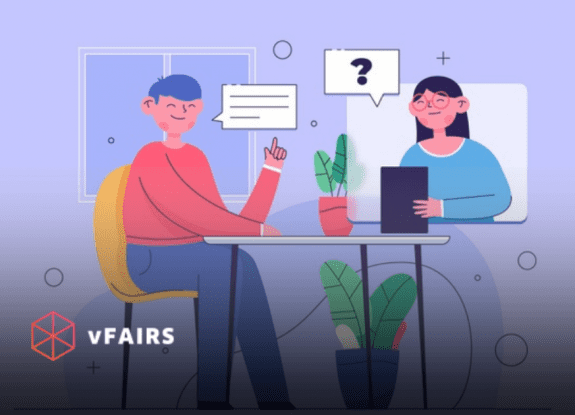 animated people having a virtual job interview