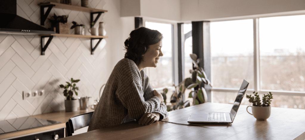 job seeker on a virtual interview