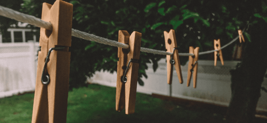 line of clothespins
