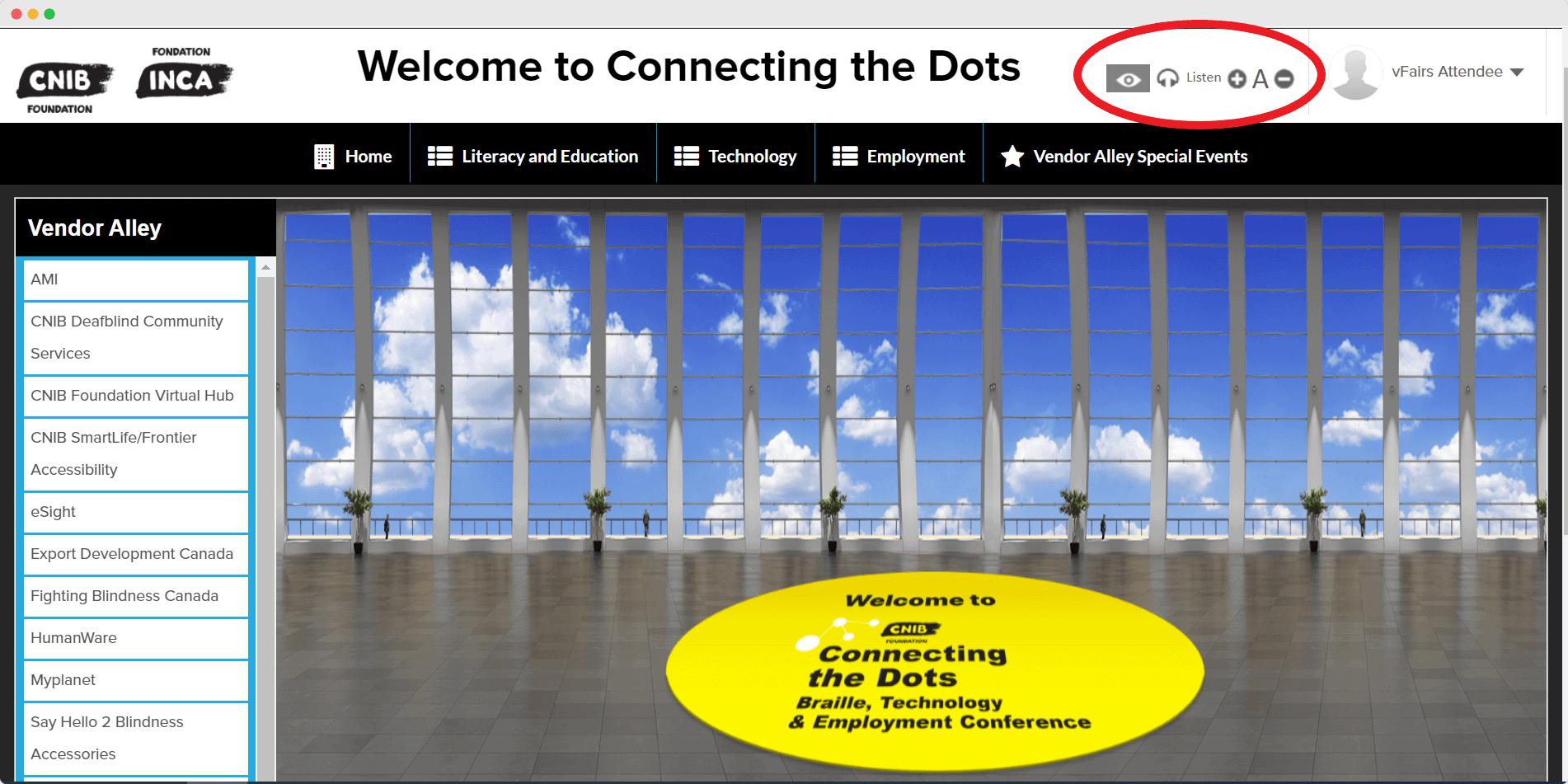 CNIB virtual event lobby