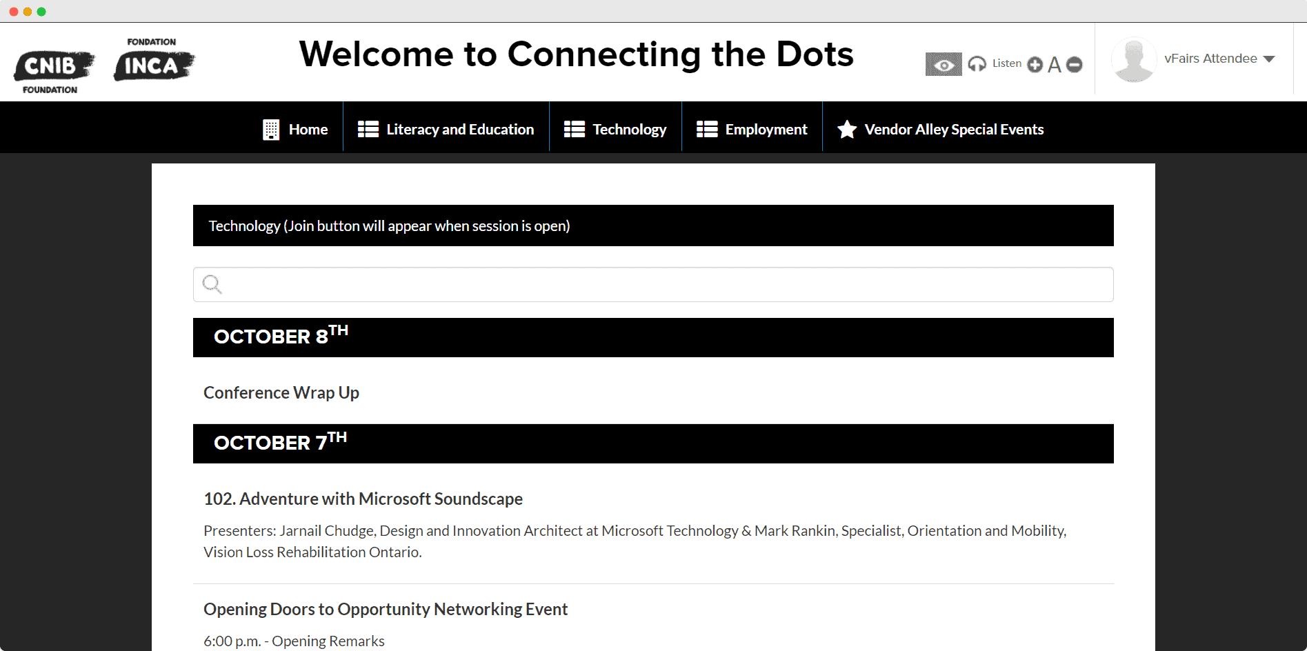 CNIB webinar page in virtual event