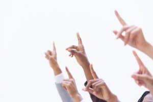 raising hands to ask questions at a virtual job fair
