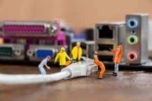 plugging in technical equipment for a hybrid event