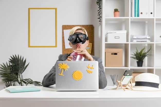woman prepared for summer holidays working