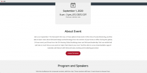 virtual event landing page showing information about the event