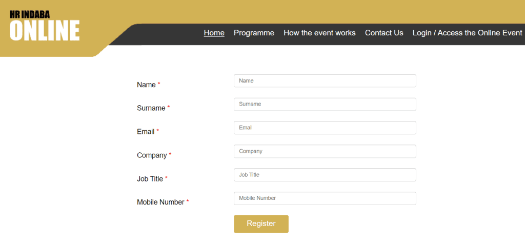 an image of the HR Indaba Registration Form