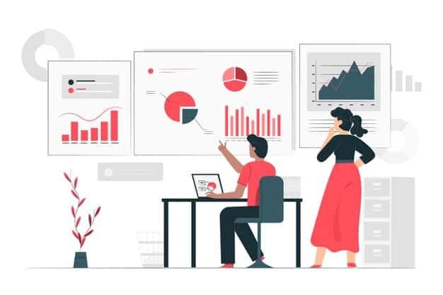 man woman working on statistics