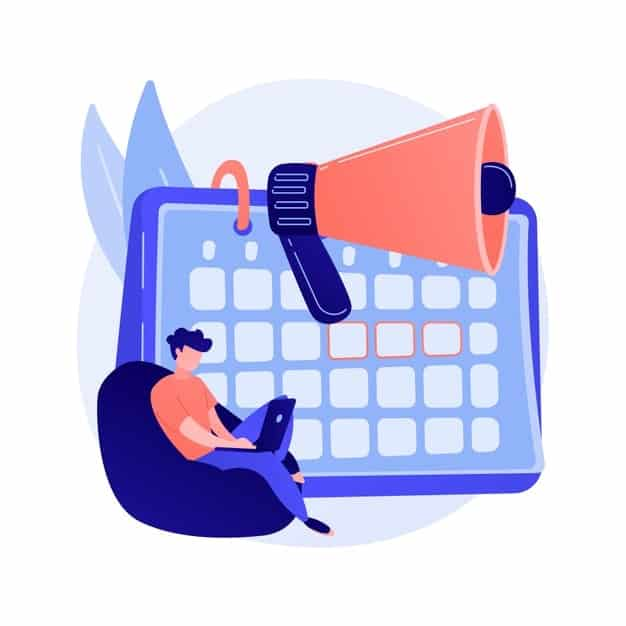 calendar and megaphone with a person