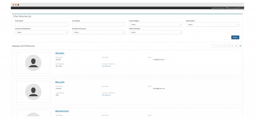 search filters on a virtual career fair platform