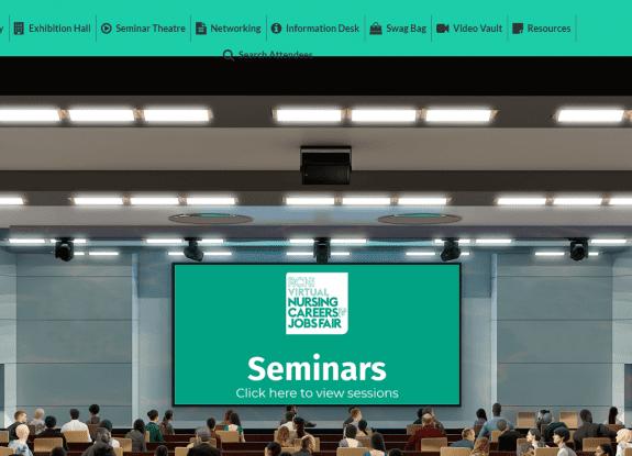 RCNi virtual job fair seminar theatre