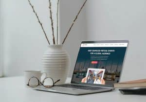 vFairs landing page on laptop