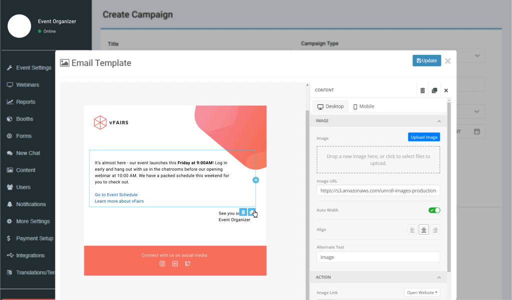 vfairs email marketing builder