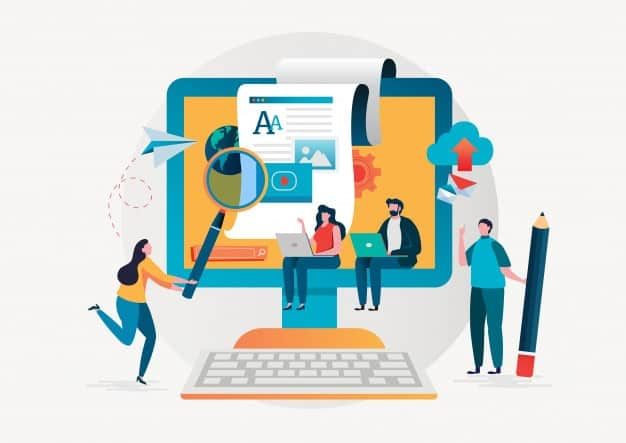 vector image of people creating content