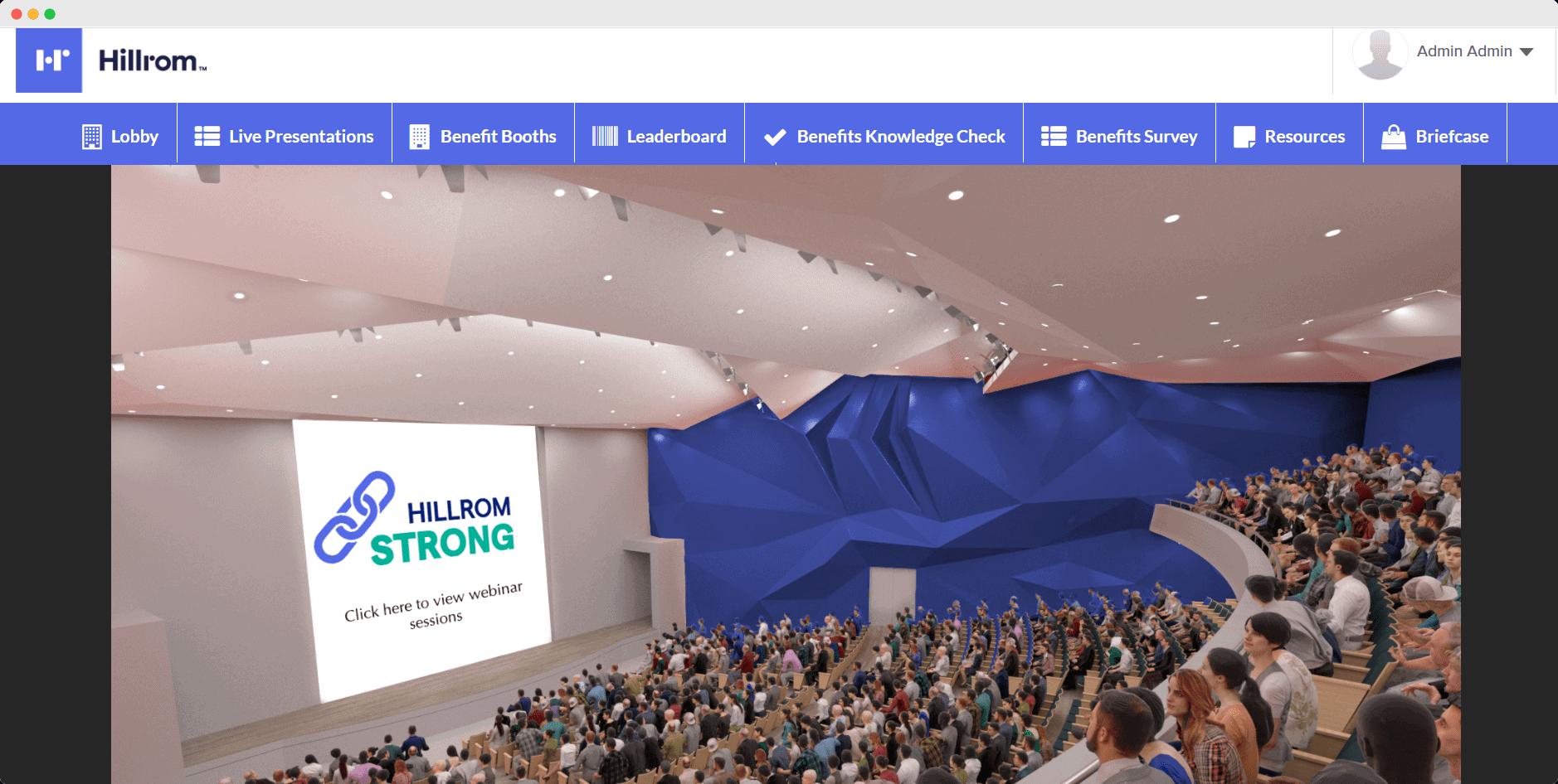 Hillrom virtual benefits fair auditorium