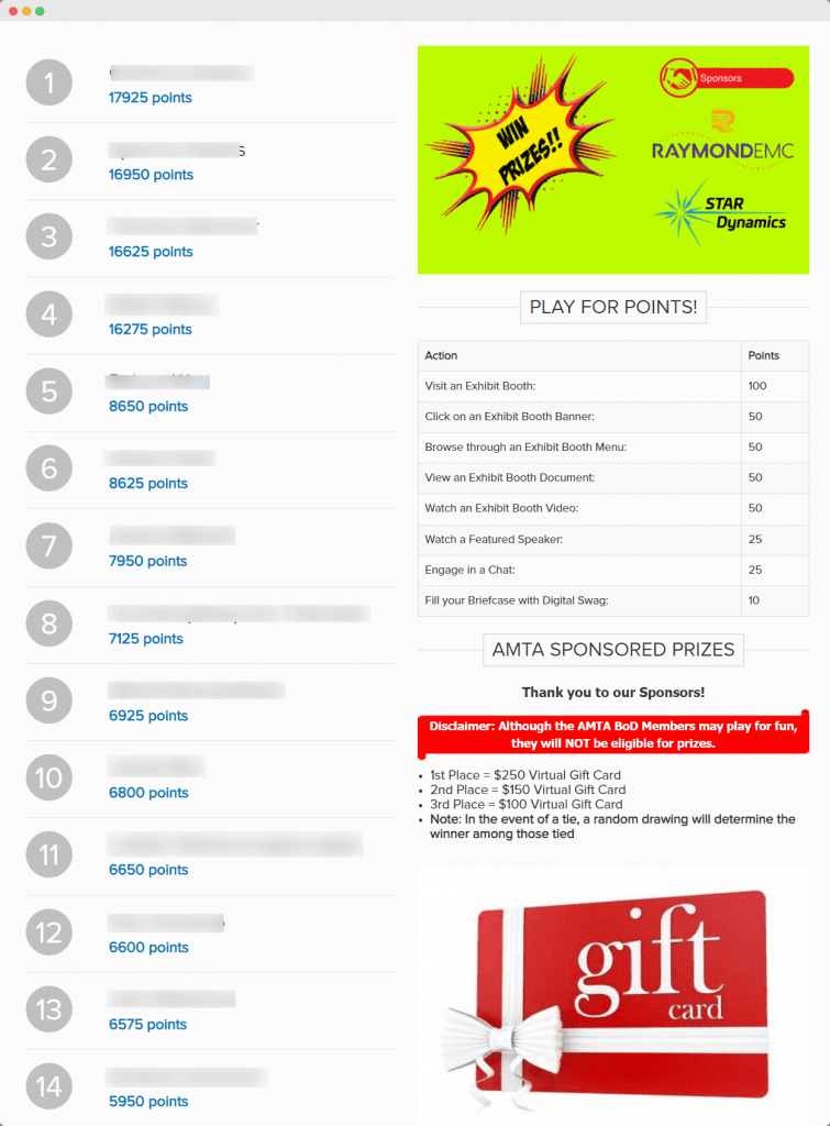 an image of amta's leaderboard