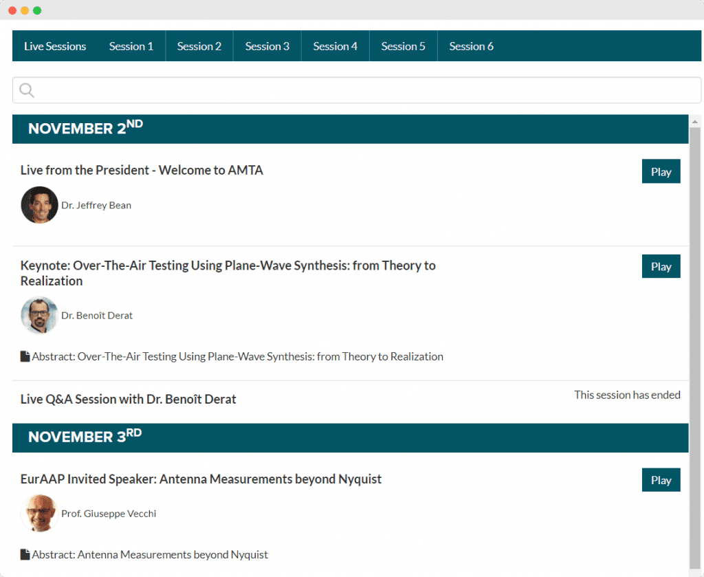 an image of the amta speaking schedule