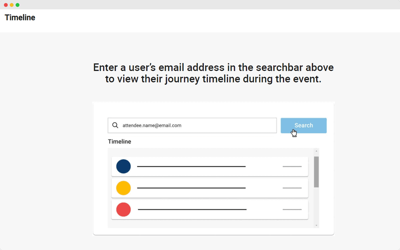 email address tool bar for event data
