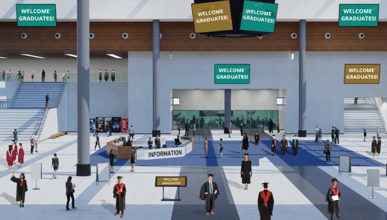 Custom lobby for virtual graduation ceremony with avatars dressed as graduates