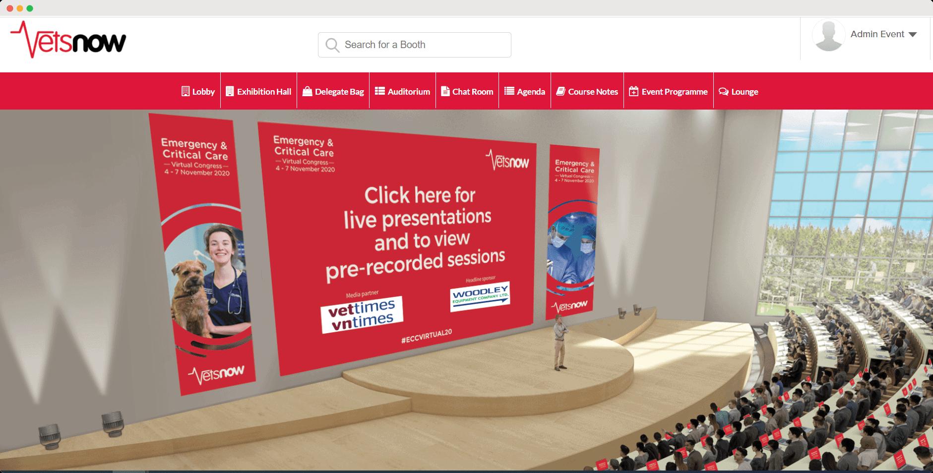 Vets Now Virtual Congress auditorium