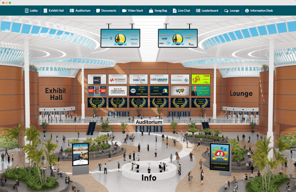 an image of the amta virtual conference lobby