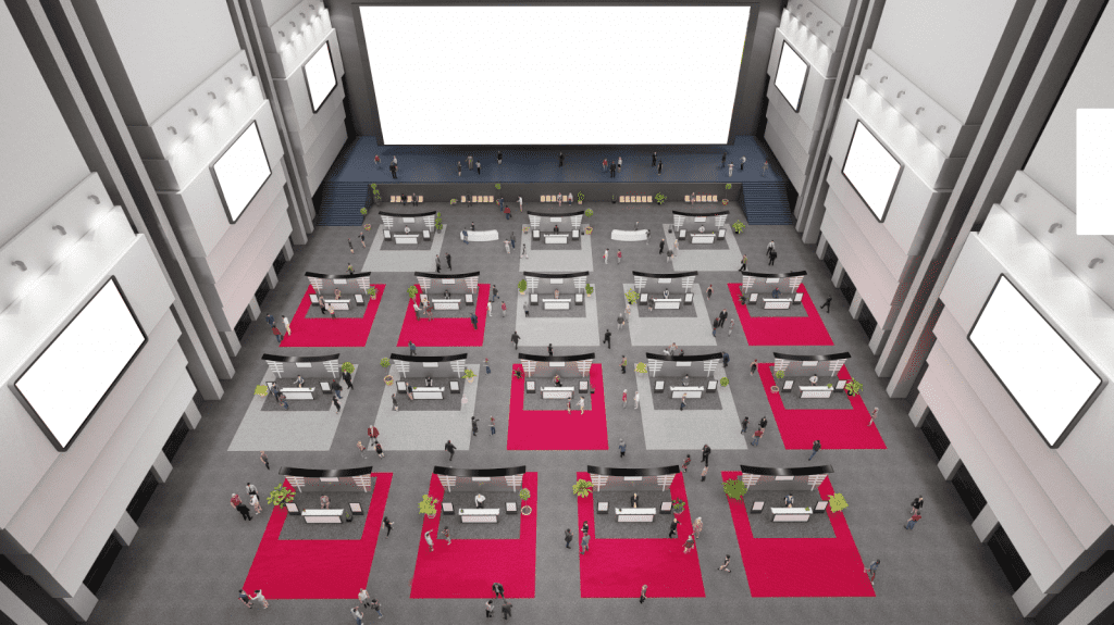 Virtual auditorium for sponsors participating in hybrid event exhibits
