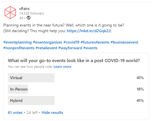 vFairs poll showing what events planners will use post-COVID 19