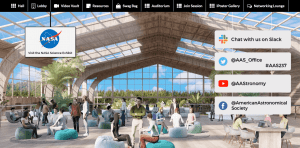 virtual networking lounge at AAS virtual meeting