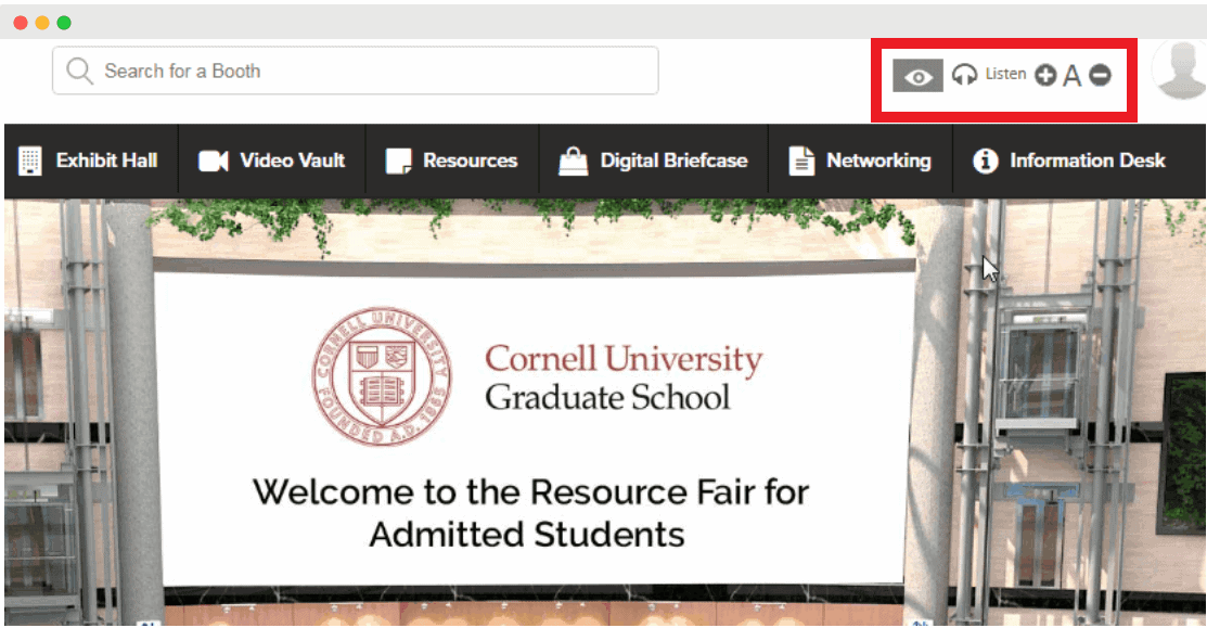Accessibility features at virtual international education fairs