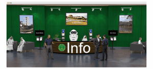 info desk at a virtual event with links to assistance options