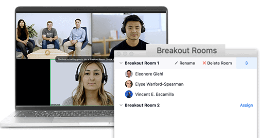 product mockup of team meeting through an embedded Zoom breakout room