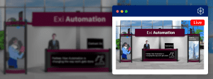 mockup of a virtual and physical event booth mirroring each other at a hybrid event