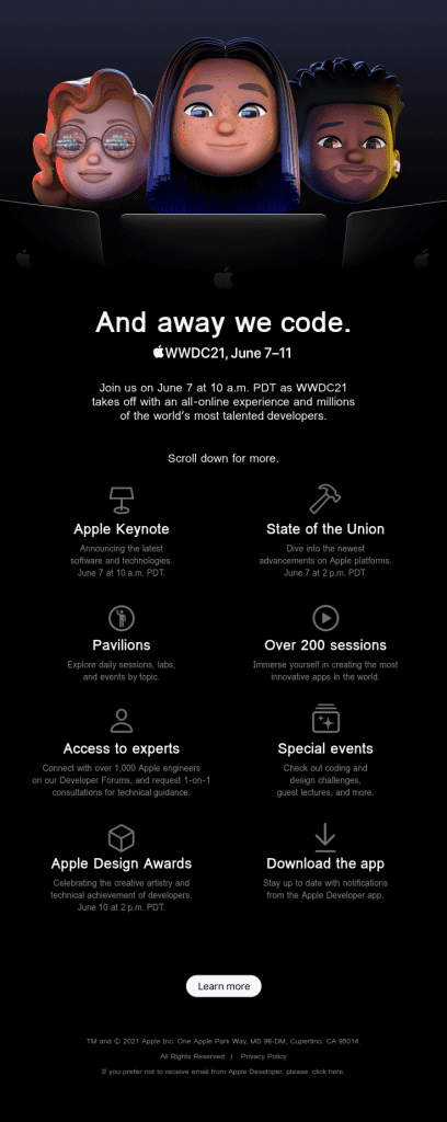 apple's worldwide developers conference email