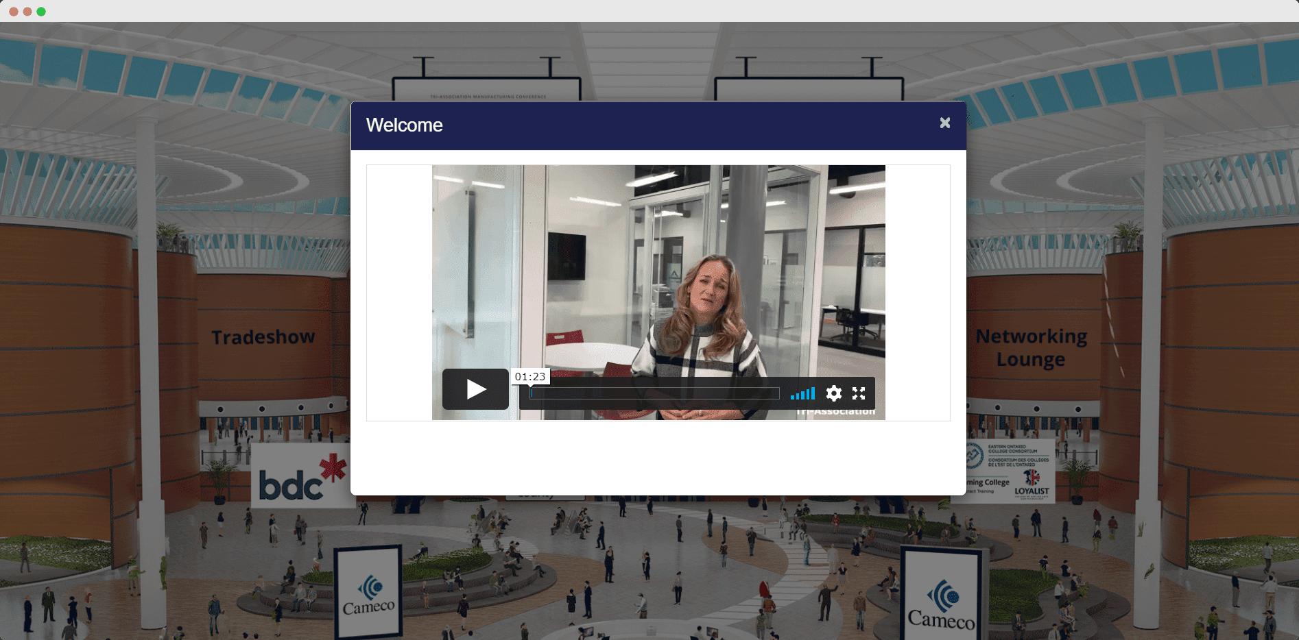 Virtual lobby welcome video