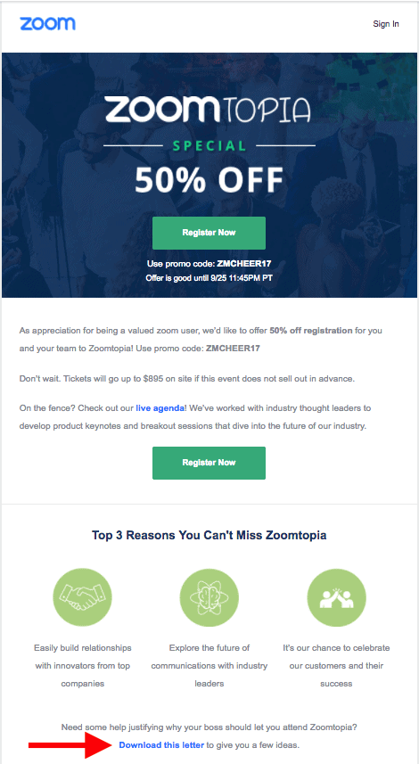 an image of Zoomtopia's event marketing email